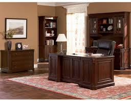 Dark Finish Hardwood Executive Desk for Home Office -Wood Office Desk - Wood  Office Hutch