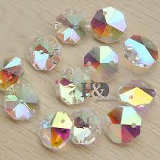 50 ab crystal 2 holes otagon bead chandelier lamp part diy chain home decor 14mm