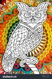 Small Picture Printable Coloring Book Page Adults Owl Stock Vector 449605465