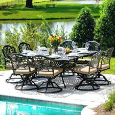 lakeview outdoor designs 9 piece cast aluminum patio dining set with swivel rockers and square table