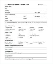 Accident Incident Report Form Vehicle Template Word
