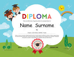 preschool elementary school kids diploma certificate background  preschool elementary school kids diploma certificate background design template stock vector 40296584