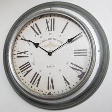 wall clock og large antique roman numeral silver rim wall clock br