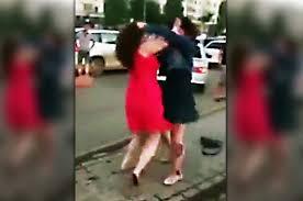 Ebony mini dress catfight