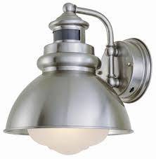 Home Depot Ca Outdoor Lighting 1 Light Outdoor Wall Lantern With Motion Sensor Brushed Nickel Finish