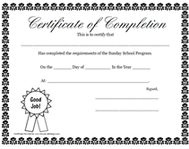 Printable Achievement Certificates Printable Sunday School Program Certificate Of Completion