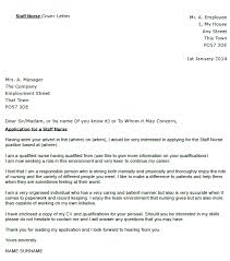 Staff Nurse Cover Letter Example Icover Org Uk