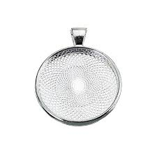 silver round plating necklace pendant photo frame base tray pallet 25mm
