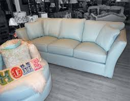 Outstanding Omnia Leather 3 Seat Sofa Light Blue Red Arrow