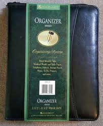 At A Glance Organizer At A Glance Planner Organizer Zippered Closure Leather Undated Black 7 Ring C595