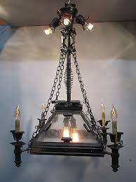 vintage antique hand wrought gothic a c gas electric chandelier converted