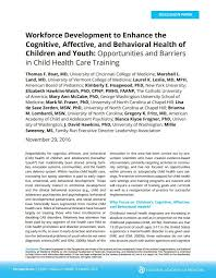 training the health care workforce to improve cognitive affective  workforce development to enhance the cognitive affective and behavioral health of children and youth opportunities and barriers in child health care