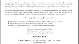 Waiter Cover Letterume Objective For Serverbartender Best