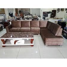 brown l shape 7 seater designer sofa