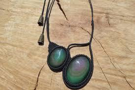 rainbow obsidian necklace macrame necklace macrame pendant double stone necklace black color obsidian jewelry ethnic jewelry macrame jewelry by