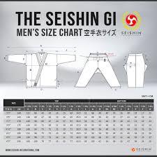 Karate Uniform Size Chart The Seishin Gi