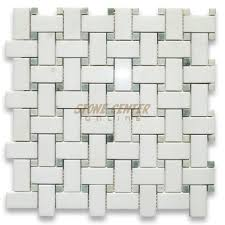 marble basketweave tile. Thassos White 1x2 Basketweave Mosaic Tile W/ Green Dots Polished Marble