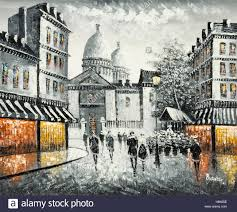 original oil painting on canvas of a paris street scene signed burnett
