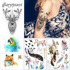 1 шт красота тела временные татуировки Km 048 лось олень шаблон для
