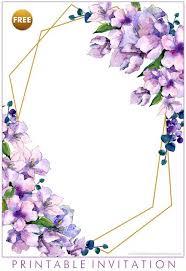 Free Printable Purple Floral Invitation Templates