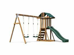 kids wooden climbing frame swing slide