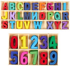 SIMUER Juego de Letras y números de Madera de 216 pcs - Letras mayúsculas  de Madera con