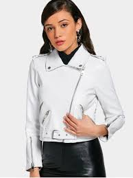 affordable asymmetric zipper belted faux leather jacket white m