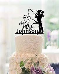 Amazoncom Fishing Wedding Cake Toppers Bride And Groomwedding
