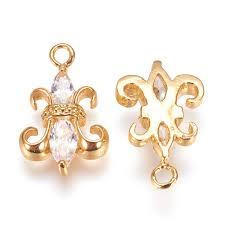 details about 10pcs brass cubic zirconia charms fleur de lis gold plated dangle pendants 16mm