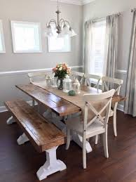 white farmhouse dining set with bench