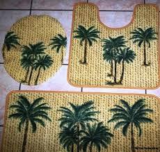 fantastic palm tree bathroom rugs 3pc green palm tree bathroom set bath contour rug toilet lid