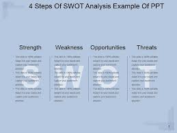 Swot Matrix Examples 4 Steps Of Swot Analysis Example Of Ppt Powerpoint Slides