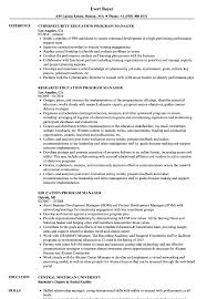 Education Program Manager Resume Samples Velvet Jobs