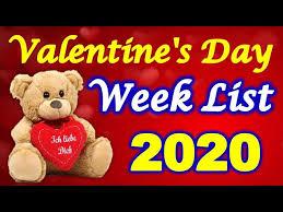 valentine day week list 2020