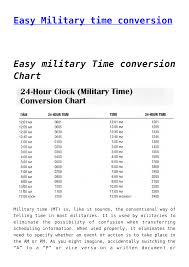 24 Hour Military Time Conversion Chart Easy Military Time Conversion Chart Templates At