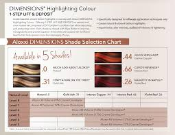 Dimensions Color Chart Aloxxi Dimensions Shade Selection Chart Colored