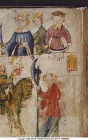 bobbing for answers the chequered board illustration of the green knight s interactions king arthur s court copy the british library board cotton nero a x art 3 f 90v