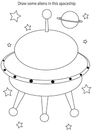 Small Picture Drawing Alien in Spaceship Coloring Page NetArt