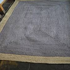 rustic 100 jute rectangle grey beige bordered braided rug