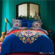 boho quilt set blue bohemian bedding set queen king size style duvet covers bedclothes soft sanded boho quilt set vintage comforter