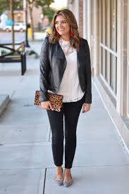 faux leather moto jacket outfit black moto jacket with white lace top and cheetah print