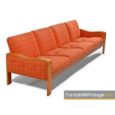 Scandinavian modern furniture Table Scandinavian Modernorange Wool Danish Teak Sofacouchthonet Dering Hall Scandinavian Modern Bent Teak Wood Sofa With Original Orange Plaid
