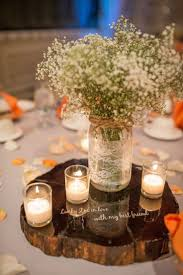 Rustic fall wedding centerpieces - different quotes on each wood piece.