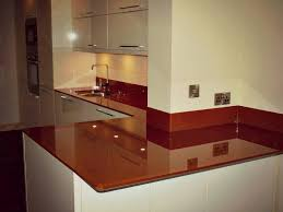 Gorgeous Chocolate Painted Glass Worktops And Upstands With