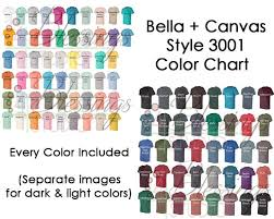 Bella Canvas 3001 Color Chart Every Color Digital File Shirt Color Chart Bella And Canvas Unisex Jersey Colors Tshirt Light Dark