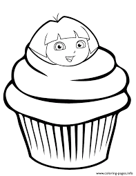 Small Picture dora the explorer cupcake Coloring pages Printable