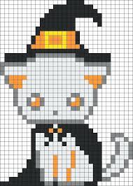 Spooky Kitten Witch Bead Pattern Sprite Pixel Art Grid Maker Anime