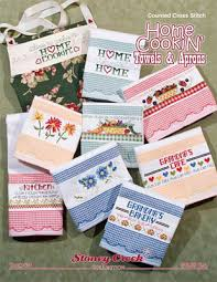 stoney creek home cookin towels aprons cross stitch pattern
