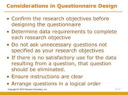 Considerations When Designing A Questionnaire Questionnaire Form Design Ppt Download