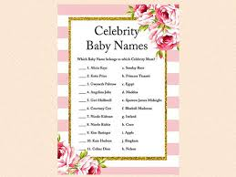 Celebrity Baby Names Celebrity Mom Game Famous Baby NamesFamous Mothers Baby Shower Game